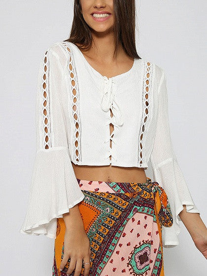 1ff20299cb White Lace Up Front Cut Out Trim Flare Sleeve Crop Blouse – MYNYstyle