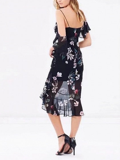 Black V-neck Floral  Ruffle Trim Spaghetti Strap Midi Dress