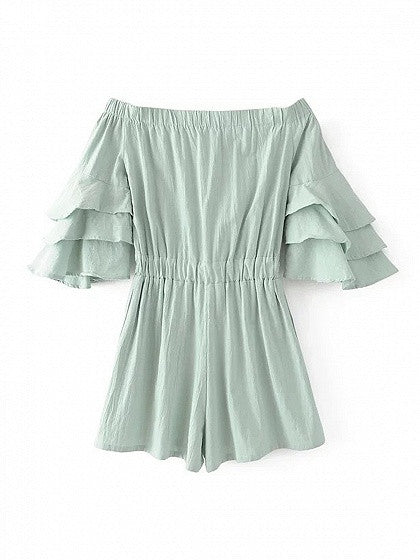 Light Green Off Shoulder Ruffle Sleeve Romper Playsuit