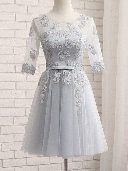 9675c0d00e Gray Sheer Mesh Embroidery Lace Up Back Tulle Homecoming Dress