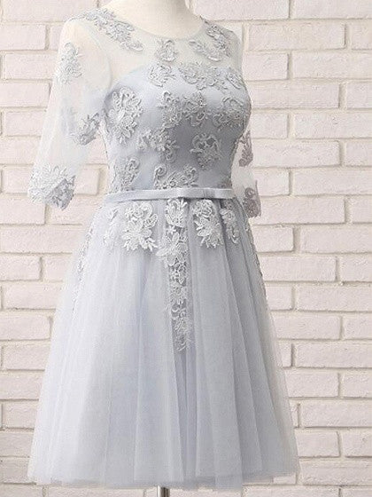 Gray Sheer Mesh Embroidery Lace Up Back Tulle Homecoming Dress
