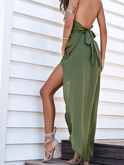 Green Halter Tie Waist Asymmetric Hem Open Back Maxi Dress
