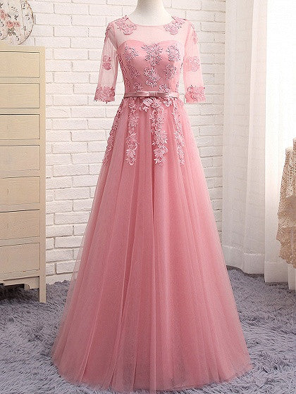 c1045d884a Pink Sheer Mesh Embroidery Lace Up Back Tulle Maxi Prom Dress