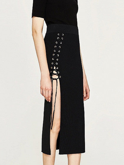 Black High Waist Lace Up Side Split Ribbed Midi Skirt