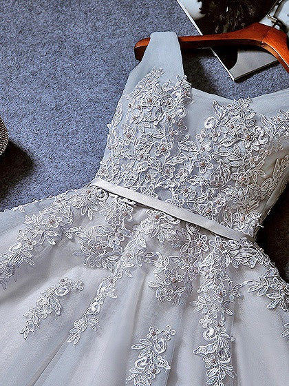 Gray Lace Applique Corset Back Sleeveless Skater Prom Dress