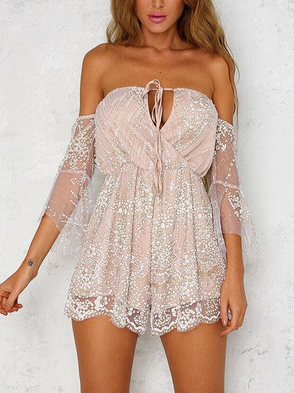 Beige Off Shoulder Tie Front Wrap Foil Lace Romper Playsuit