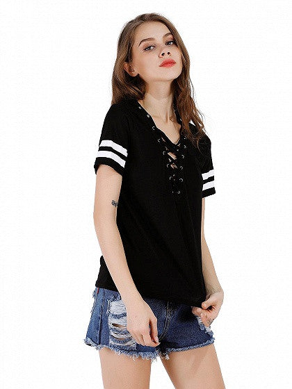 482e6677a8 Black Lace Up Front Stripe Sleeve T-shirt – MYNYstyle