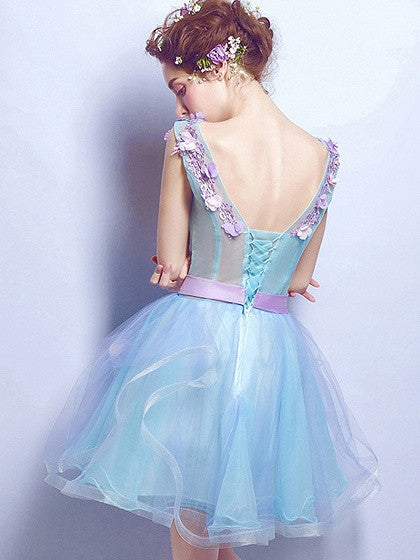 Blue V-neck 3D Flower Lace Up Back Organza Mini Homecoming Dress