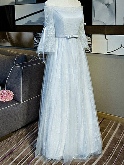 Gray Off Shoulder Flared Sleeve Lace Up Back Tulle Maxi Prom Dress