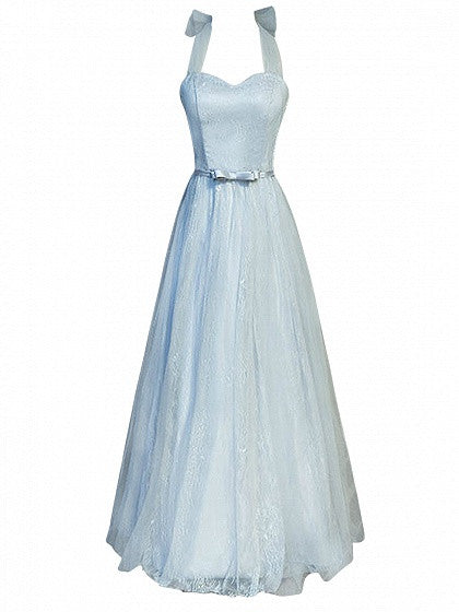 Gray Halter Lace Up Back Tulle Maxi Prom Dress