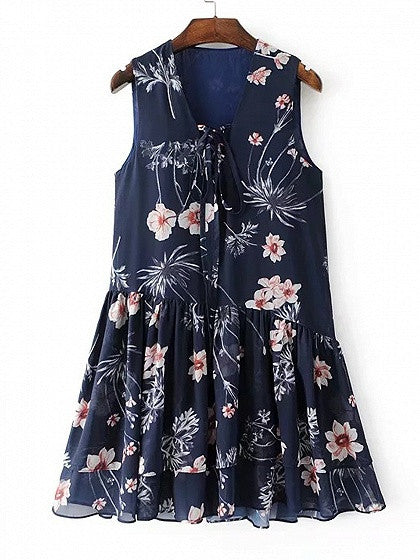 Navy Floral Lace Up Front Sleeveless Babydoll Dress