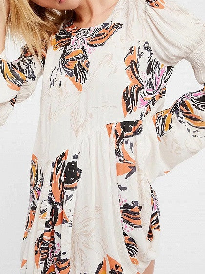 Polychrome Floral Keyhole Back Flared Sleeve Mini Dress