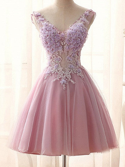 Pink V-neck 3D Flower Beaded Lace Up Back Mini Homecoming Dress