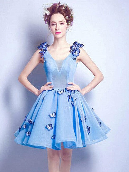 ac3b80fe2c Blue V-neck 3D Butterfly Embellished Lace Up Back Mesh Skater Party Dress