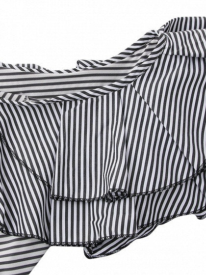 Monochrome Stripe One Shoulder Layered Ruffle Bodysuit