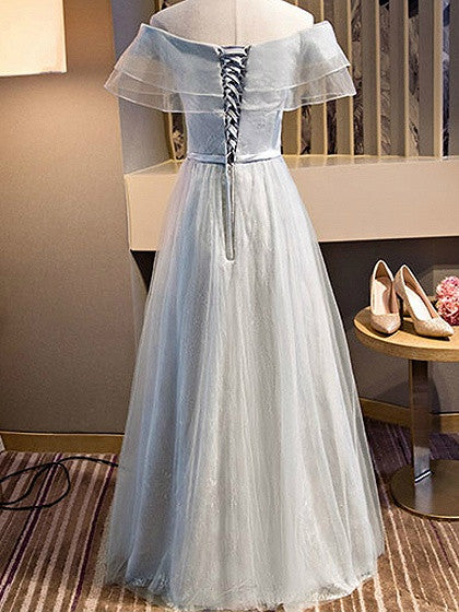Gray Off Shoulder Sheer Mesh Ruffle Lace Up Back Tulle Maxi Prom Dress