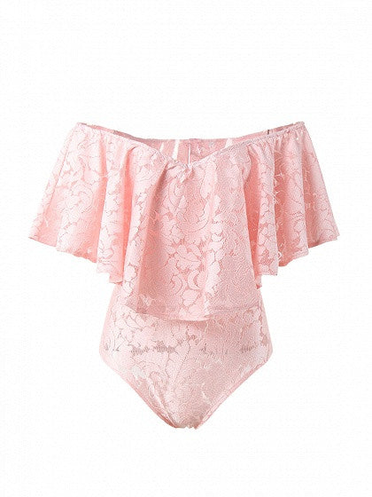 Pink Sweetheart Off Shoulder Ruffle Lace Bodysuit