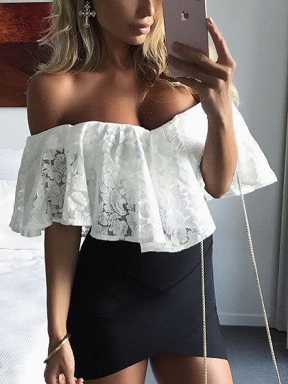 White Sweetheart Off Shoulder Ruffle Lace Bodysuit