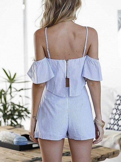 Blue Stripe Cold Shoulder Cami Top and Wrap Knot Front Bottom
