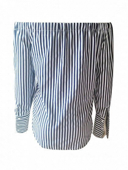 Blue Stripe Off Shoulder Tie Front Long Sleeve Shirt