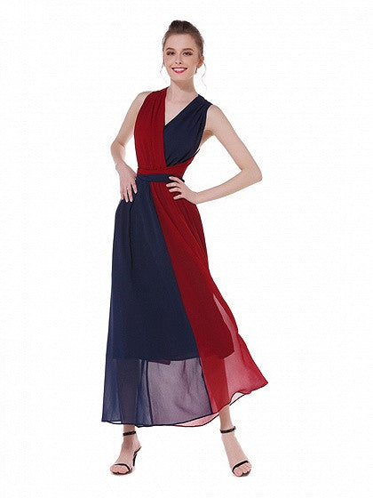 Polychrome Contrast Color Block Multi-way Strap Maxi Dress