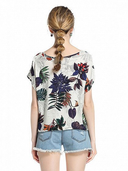Polychrome Floral Short Sleeve Blouse Top