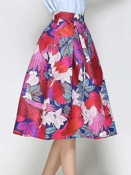 Polychrome High Waist Floral Skater Prom Skirt