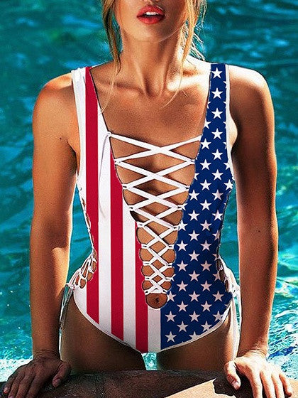 Patriotic 4th of July American Flag Print Lace Up Plunge Swimsuit