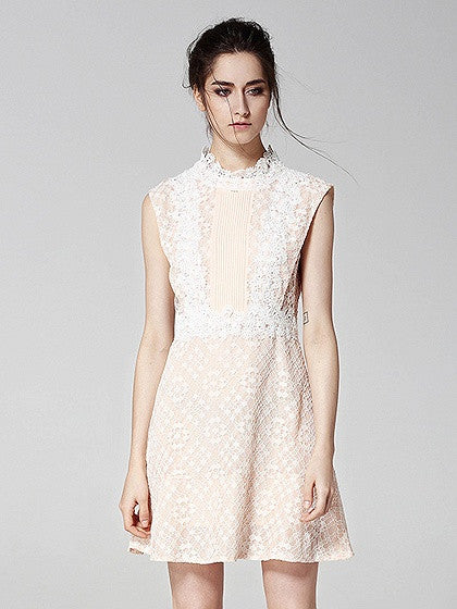Beige Sleeveless Tie Back Lace Overlay A-line Mini Dress
