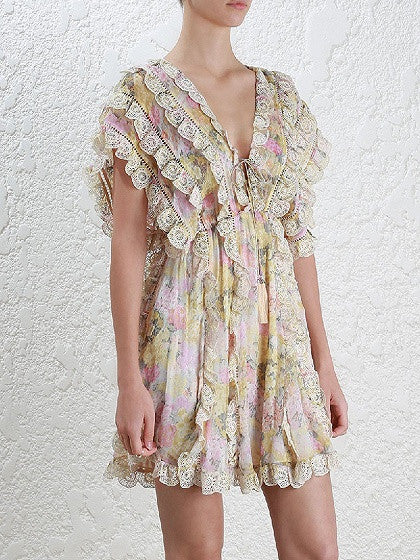 Polychrome Floral Plunge V-neck Tie Front Embroidery Trim Mini Dress