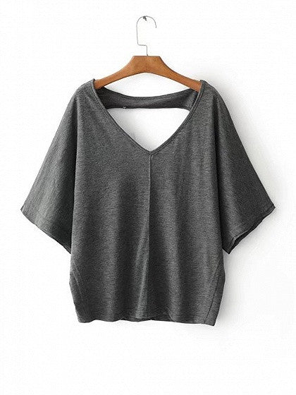 Gray V-neck Cut Out Back Batwing Sleeve T-shirt
