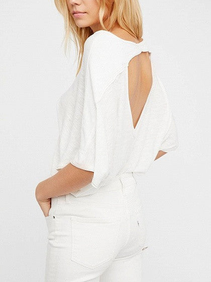9807badb48c47 White V-neck Cut Out Back Batwing Sleeve T-shirt