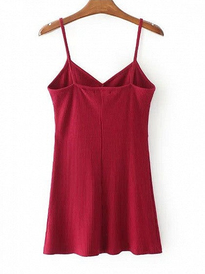 Burgundy V-neck Spaghetti Strap Ribbed Bodycon Mini Dress