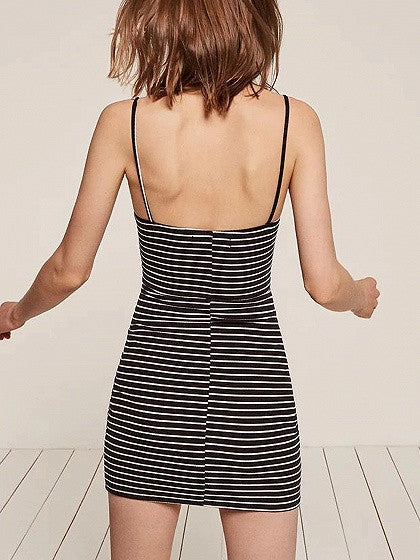 Black Strip V-neck Spaghetti Strap Ribbed Bodycon Mini Dress