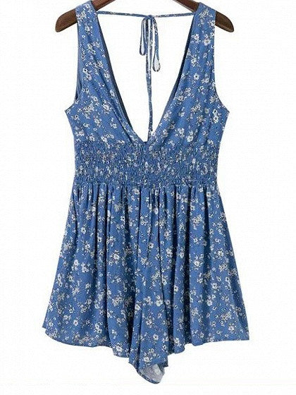 Blue Plunge V-neck Floral Backless Romper Playsuit – MYNYstyle 09a962a63