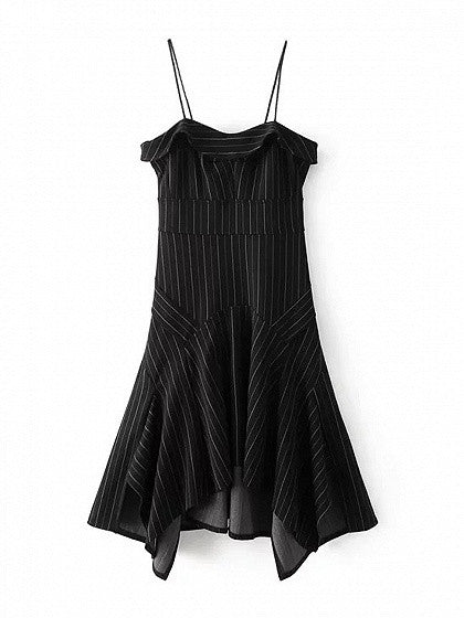 Black Stripe Folded Asymmetric Hem Spaghetti Strap Dress