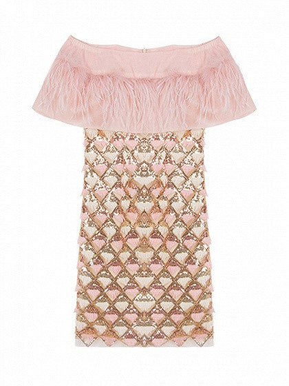 Pink Off Shoulder Feather Ruffle Sequin and Tassels Mini Dress
