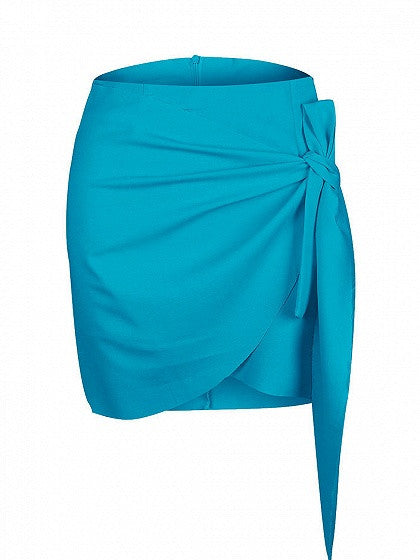 Blue Wrap Tie Asymmetric Hem Mini Skirt