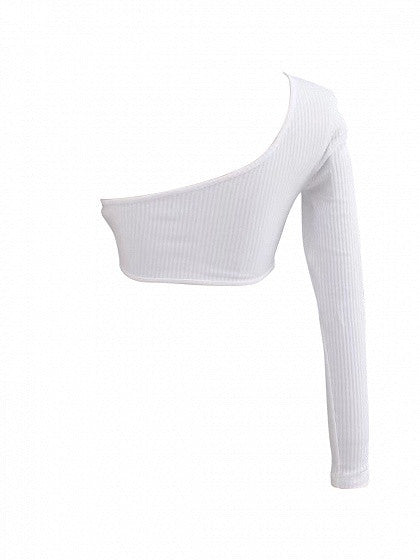 15b95e52d57c8 White One Shoulder Long Sleeve Ribbed Crop Top – MYNYstyle