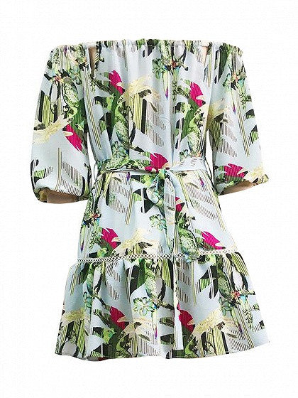 Light Blue Tropical Print Off Shoulder Cut Out Ladder Skater Dress