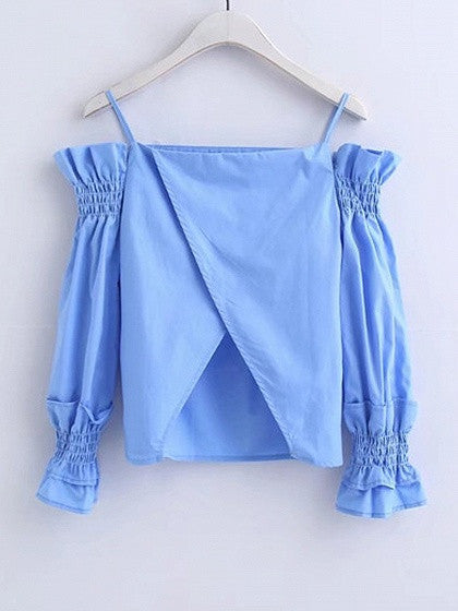Blue Cold Shoulder Wrap Back Shirred Cami Top