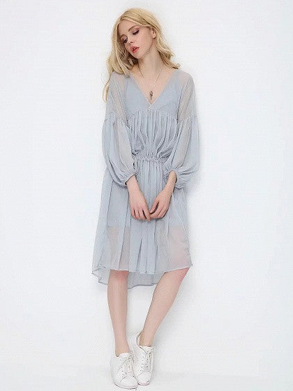 Blue V-neck Ruched Blouson Sleeves Dipped Hem Dress With Cami Lining