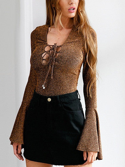 Gold Metallic Yarn Lace Up Bell Sleeve Bodysuit