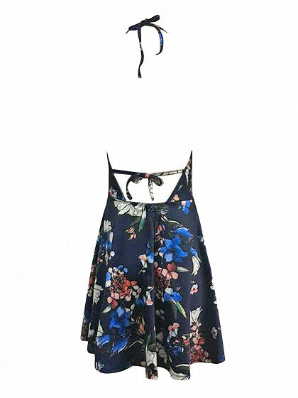 Navy Blue Halter Plunge Floral Print Open Back Skater Dress