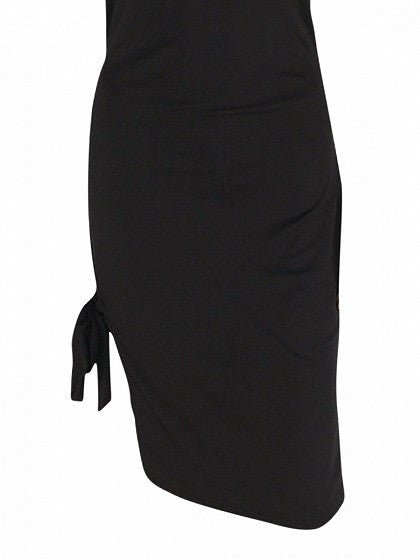 Black Spaghetti Strap Split Tie Side Bodycon Dress