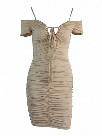 Khaki Off Shoulder Lace Up Ruched Bodycon Dress
