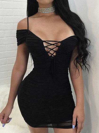Black Off Shoulder Lace Up Ruched Bodycon Dress