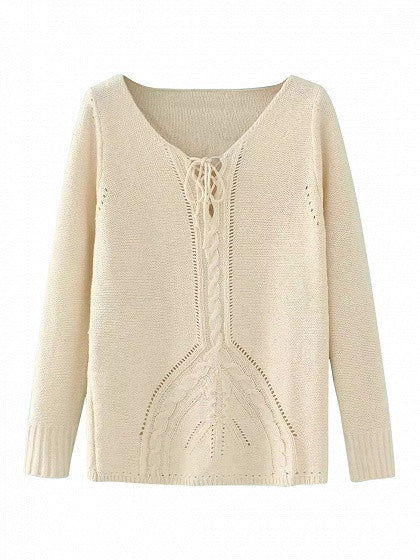 Khaki Lace Up Cable Knit Trim Sweater