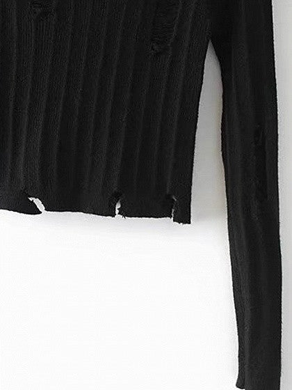 Black Ripped Long Sleeve Cropped Knit Jumper