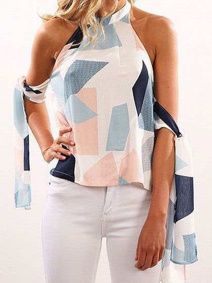 Polychrome Geo Pattern Halter Cold Shoulder Backless Top
